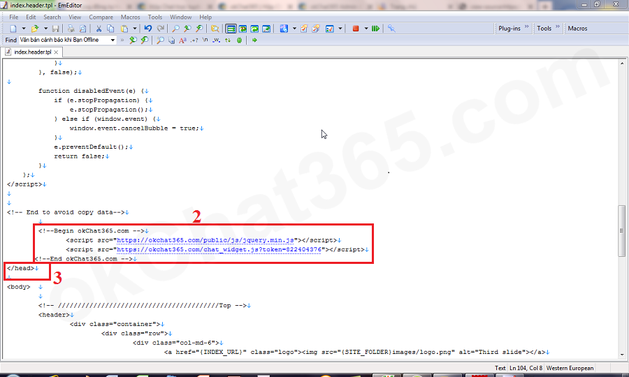 Gắn mã tích hợp hộp chat trực tuyến trực tiếp vào code