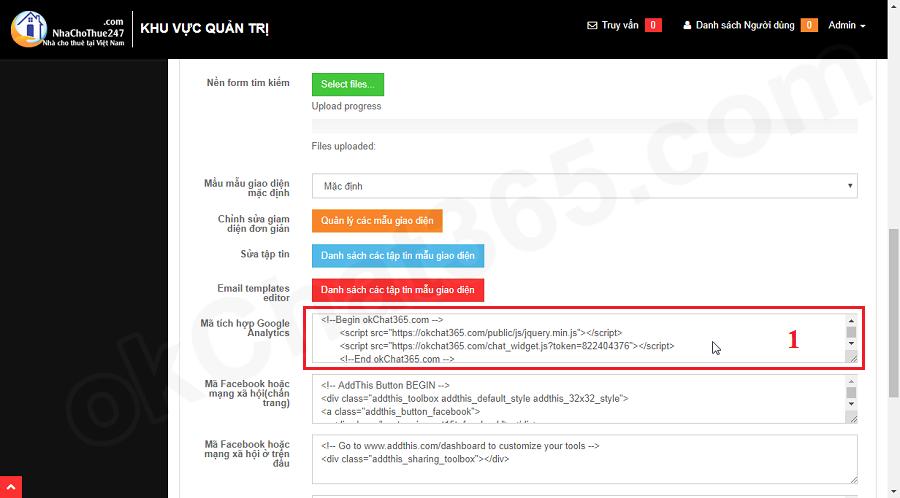 Tích hợp hộp chat vào website thông qua giao diện quản trị