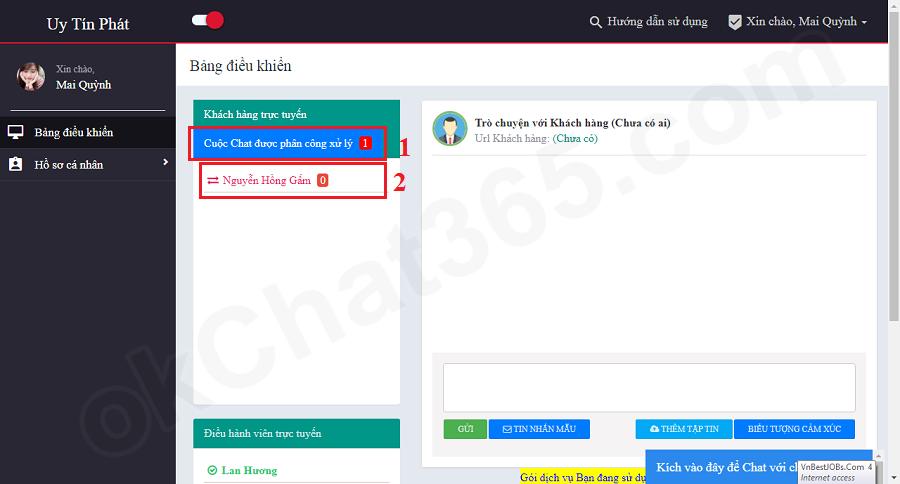 Xử lý Chat với Khách hàng ứng với cuộc Chat được quản lý giao
