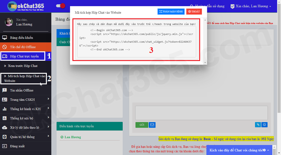 Lấy mã hộp chat trực tuyến để gắn vào website