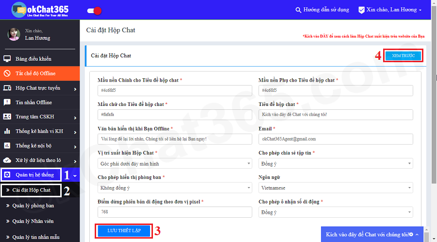 Cài đặt hộp chat trực tuyến để gắn vào website